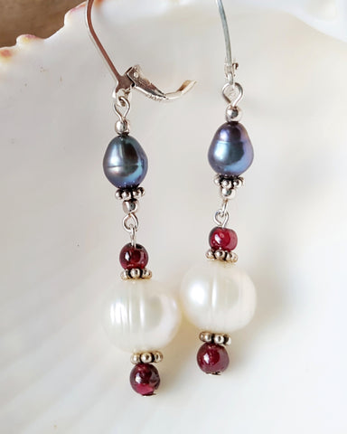 Fabulous Long Pearl Garnet Dangle Earrings-Handcrafted-White & Tahitian Gray Pearls with Pink Red Garnets & Sterling Silver-Freshwater Cultured Pearls
