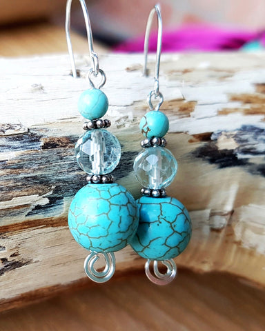 Turquoise Aquamarine Celtic Water Earrings, Sterling Silver, Ethical Aquamarine