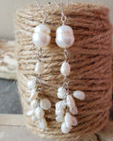 Long Vintage River Pearl Cluster Earrings