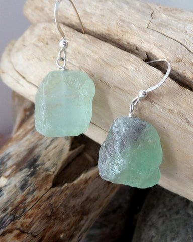 Natural Fluorite Earrings-Sterling Silver, Natural Rough Fluorite Nuggets