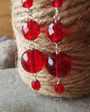 Long Luscious Red Dangle Earrings-Handmade-Fair Trade-Sterling Silver-Wire Wrapped Translucent Red Glass-Long Dangle Statement Earrings-Vegan Friendly