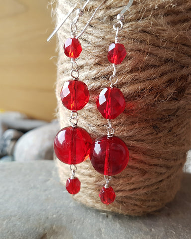Faceted Red Garnet and Cultured Pearl 925 Sterling Silver Wire Back Earrings