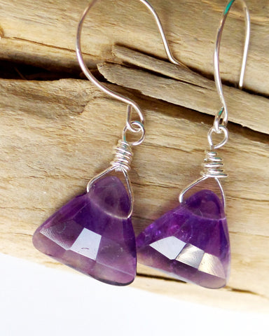 Amethyst Triangle Earrings-Sterling Silver-Genuine Amethyst-February Purple Gemstone-Triangle Shaped Faceted Stones