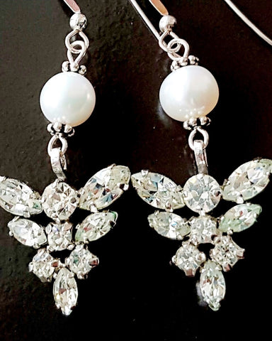 Vintage Crystal Pearl Sterling Silver Earrings-Handcrafted-Vintage Clear Crystal-Freshwater Pearls