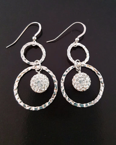 Long Bohemian Crystal Ball Hoop Statement Earrings