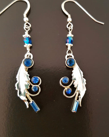 Blue Vintage Leaf Crystal Earrings-Long Sterling Silver- Sapphire Blue Crystal Earrings