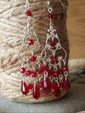 Radiant Ruby Crystal Chandelier Earrings-Long Sterling Silver, Swarovski Crystal,  Vintage Bohemian, Edwardian Earrings. Siam Red