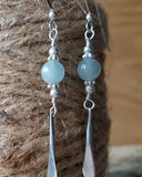 Long Eco Aquamarine Sterling Silver Earrings, Recycled Sterling Silver, Natural Aquamarine