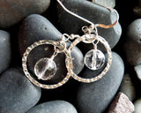 Rock Crystal Infinity Earrings, Handmade with Sterling Silver and Natural Clear Quartz Crystal.
