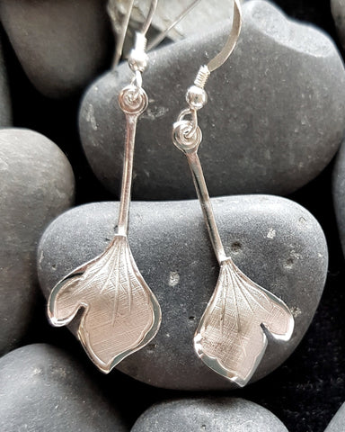Long Leaf Earrings, Long Sterling Silver, Vintage Leaf Dangle Earrings