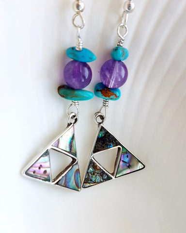 Bohemian Triangle Earrings-Ethical Turquoise-Amethyst-Vintage Abalone-Amethyst-Sterling Silver