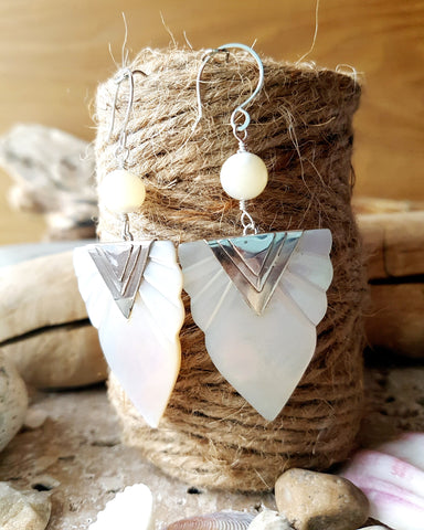 Art Deco Inspired Mother of Pearl Earrings, Sterling Silver, Vintage Mother of Pearl, OOAK, Handmade