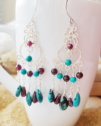 Spring Turquoise Garnet Earrings-Handcrafted-OOAK-Sterling Silver-Genuine Turquoise-Pink Garnet-