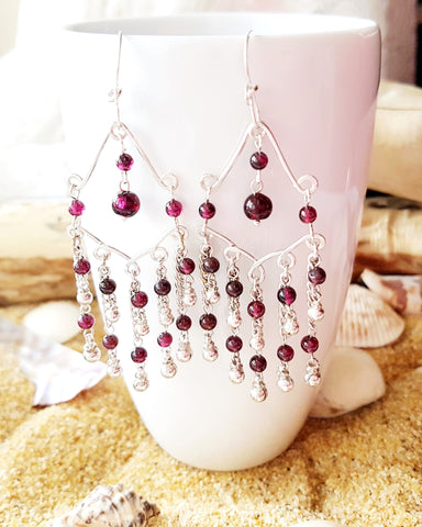 Long, Elaborate Garnet Chandelier Earrings made with Upcycled Vintage Sterling Silver and new.