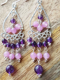 Amethyst Inspiration Chandelier Earrings, Long Sterling Silver Two Tone Purple Gemstones