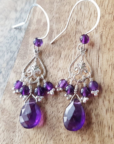 Edwardian Inspired Amethyst Chandelier Earrings