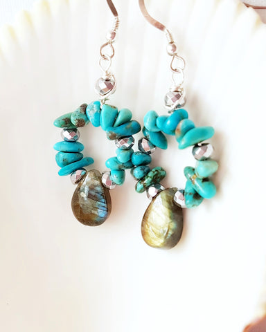 Ethical Turquoise, Labradorite, Hematite Hoop Earrings