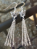 Long Butterfly Tassel Earrings-Handcrafted-Sterling Silver-Upcycled-Chain Tassels