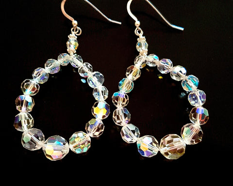 Vintage Crystal Passion Hoop Earrings-OOAK-Sterling Silver-1950's Clear AB Crystal-Long Hoop Earrings