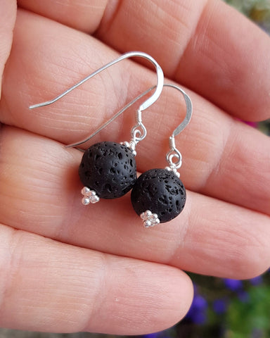 Essential Oil Diffuser Earrings-Sterling Silver-Handcrafted-Natural Black Lava Stones