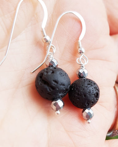 Essential Oil Diffuser Earrings-Sterling Silver-Handcrafted-Natural Black Lava Stones-Elegant –Minimalist Design-Aromatherapy Jewelry