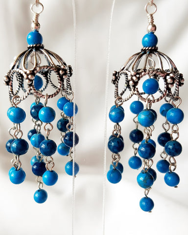 Blue Waterfall Tassel Chandelier Earrings-OOAK Handcrafted Sterling Silver Earrings-Blue Fossil-Turquoise Howlite-Large Tassel Earrings