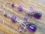 Mystic Topaz Amethyst Exotic Earrings-Handcrafted with High Quality, Faceted Gemstones: Genuine Amethyst & Mystic Topaz