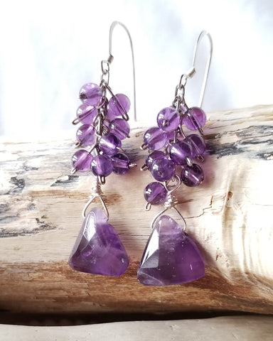 Triangle Sparkle Amethyst Earrings,  Long Sterling Silver, Deep Purple Gemstones, Cluster  Style