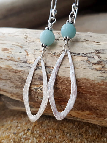 Dragonfly Wing Amazonite Earrings-Long Earrings