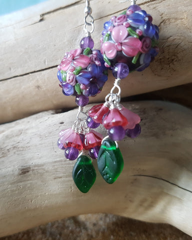 Floral Paradise Amethyst and Lampwork Glass Earrings