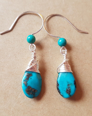 Turquoise Passion Wire Wrapped Earrings, One of a Kind, Sterling Silver, Genuine Turquoise, Long Earrings