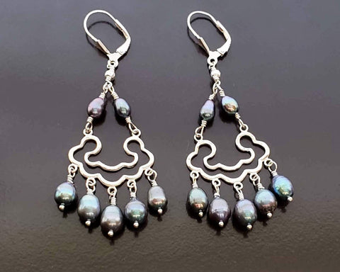 Peacock Cloud Pearl Chandelier Earrings