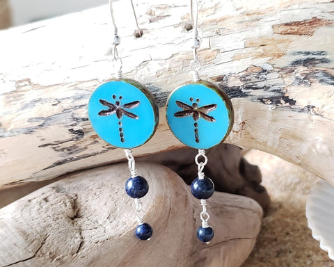 Dragonfly Blue Lapis Lazuli Long Dangle Earrings, Sterling Silver, Blue Lapis, Blue Gemstone, Czech Pressed Glass
