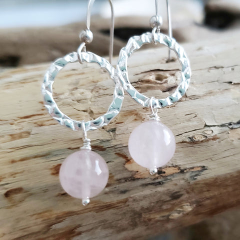 Rose Quartz Loving Eternity Earrings, Eternity Hoops & Pale Pink Gemstone, Sterlings Silver