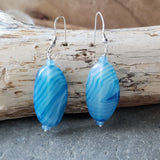 Blue Ribbons Agate Earrings