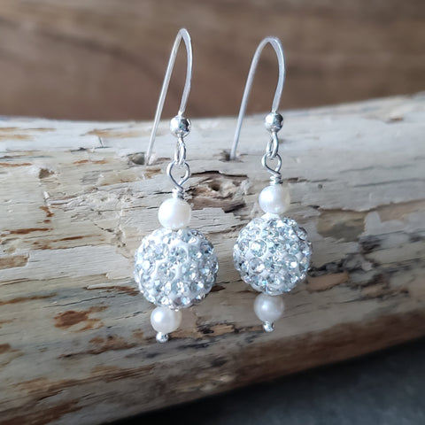 White Pearl Crystal Ball Dangle Earrings
