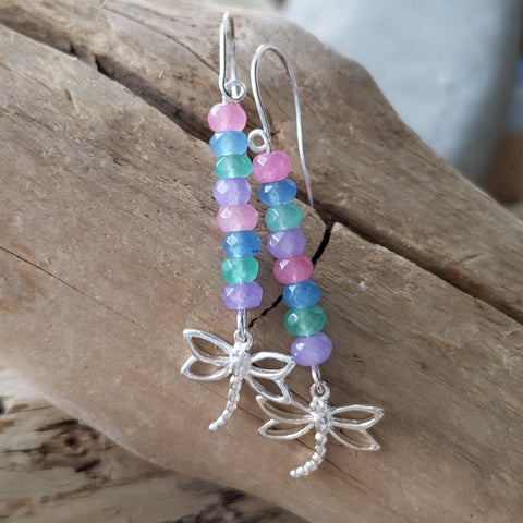 Spring Dragonfly Gemstone Earrings