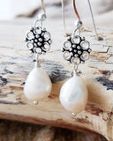 Vintage Floral Baroque Pearl Earrings