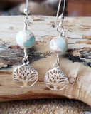 Sea Sediment Imperial Jasper Tree of Life Earrings