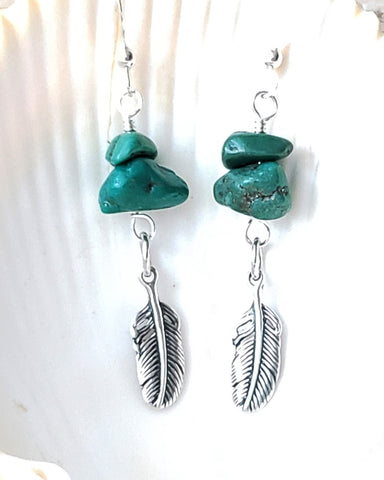 Rare Vintage Turquoise Feather Earrings, Natural Turquoise