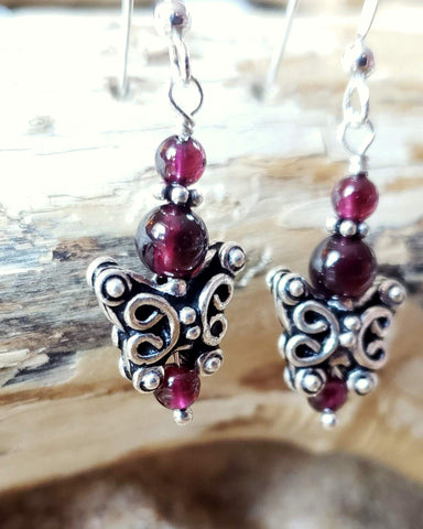 Garnet Butterfly Earrings, Antique Style Sterling Silver Butterflies with Pinkish Garnet