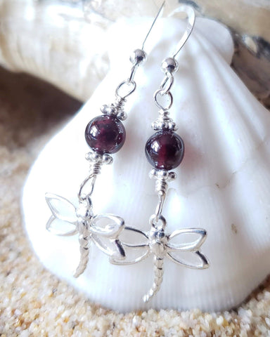Dragonfly Garnet Delight Earrings, Sterling Silver, Genuine Garnet