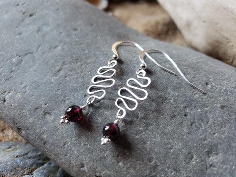 Path to Joy Garnet Earrings, Sterling Sivler, OOAK, Long Earrings