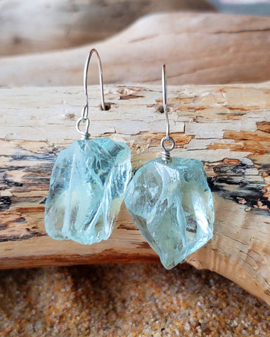 Aquamarine Peace Quartz Earrings