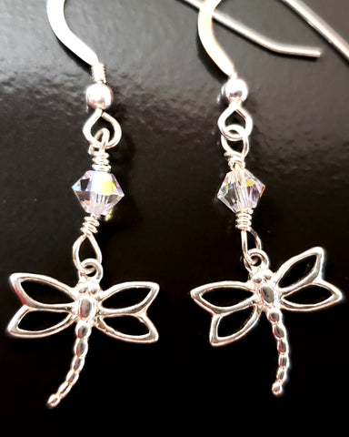 Dragonfly Swarovski Crystal Transformation Earrings