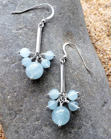 Long Aquamarine Peace Earrings, Genuine Aquamarine, Up-cycled, Sterling Silver, Handmade, Something