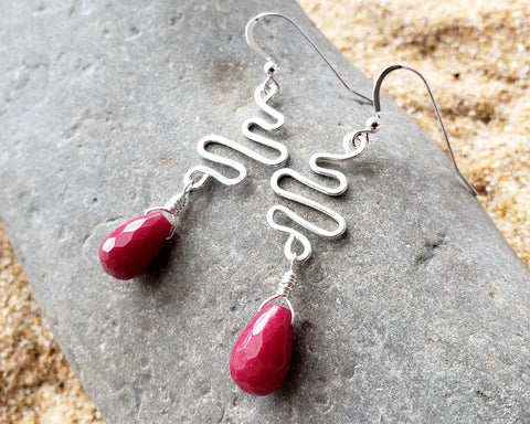 Ruby Red Jade Life Path Earrings, Long Sterling Silver Red Jade Earrings
