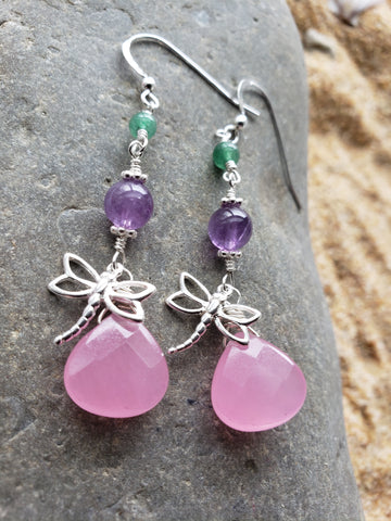Long Dragonfly Gemstone Earrings, Sterling Silver, Pink Jade, Amethyst, Aventurine,