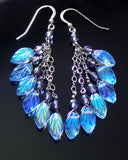 Long Blue Leaf Cluster Earrings, Sterling Silver, Czech Glass, Opal Blue Glass Leaves, lavender, Upcycled Sterling Silver