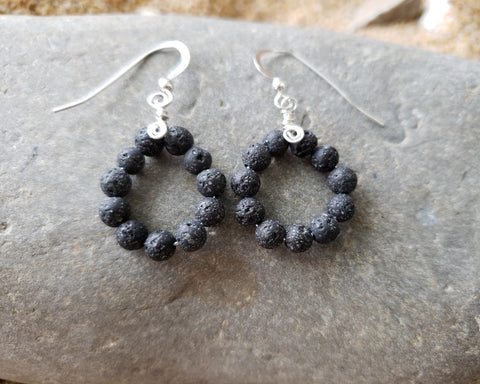 Lava Stone Hoop Earrings-Sterling Silver Essential Oil Diffuser Earrings